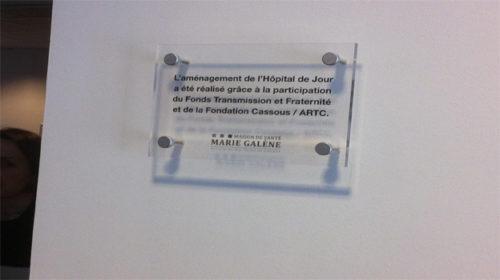 Plaque pour inauguration de l'hôpital de jour Marie Galène en 2012